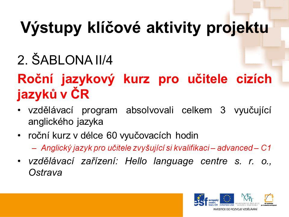 Výstupy klíčové aktivity projektu 2. ŠABLONA II/4 Roční jazykový kurz pro učitele cizích jazyků v ČR vzdělávací program absolvovali celkem 3 vyučující