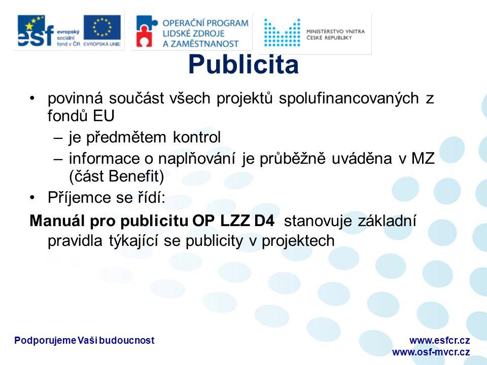 Publicita povinná součást všech projektů spolufinancovaných z fondů EU –je předmětem kontrol –informace o naplňování je průběžně uváděna v MZ (část Be