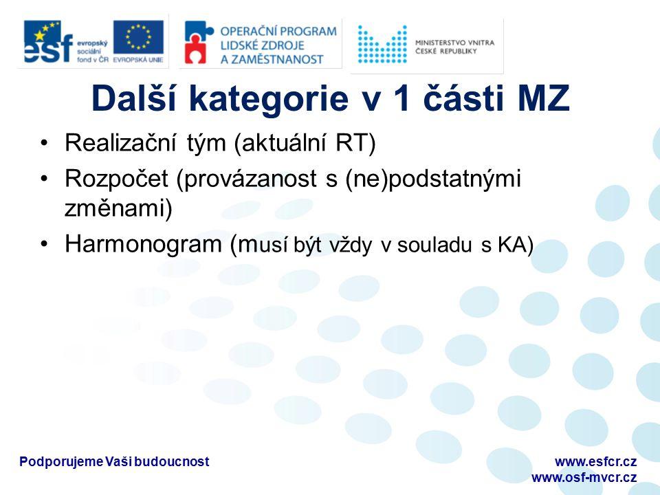 Další kategorie v 1 části MZ Realizační tým (aktuální RT) Rozpočet (provázanost s (ne)podstatnými změnami) Harmonogram (m usí být vždy v souladu s KA)
