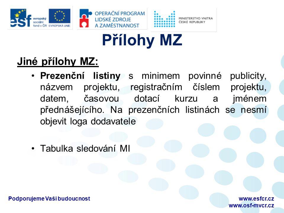 Přílohy MZ Jiné přílohy MZ: Prezenční listiny s minimem povinné publicity, názvem projektu, registračním číslem projektu, datem, časovou dotací kurzu