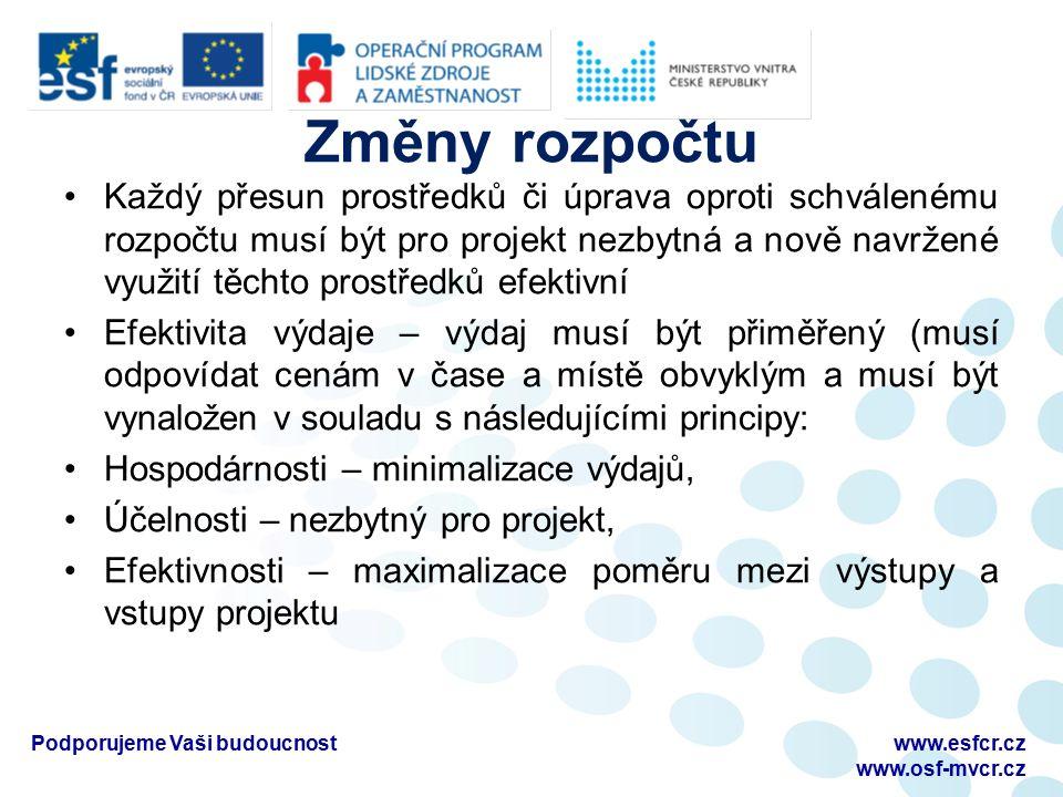 Změny rozpočtu Každý přesun prostředků či úprava oproti schválenému rozpočtu musí být pro projekt nezbytná a nově navržené využití těchto prostředků e