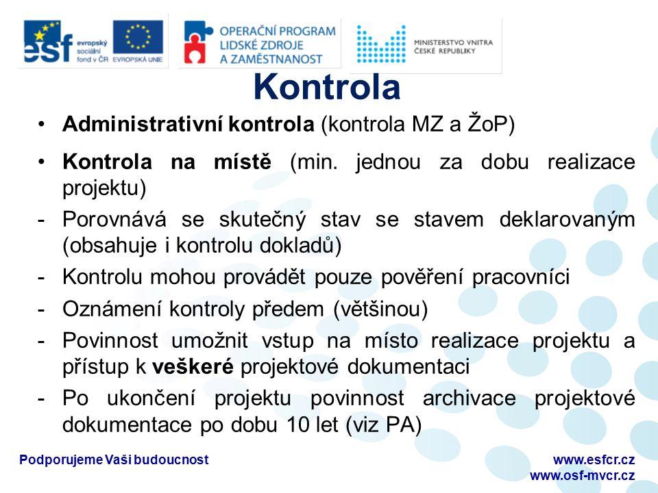 Kontrola Administrativní kontrola (kontrola MZ a ŽoP) Kontrola na místě (min. jednou za dobu realizace projektu) -Porovnává se skutečný stav se stavem