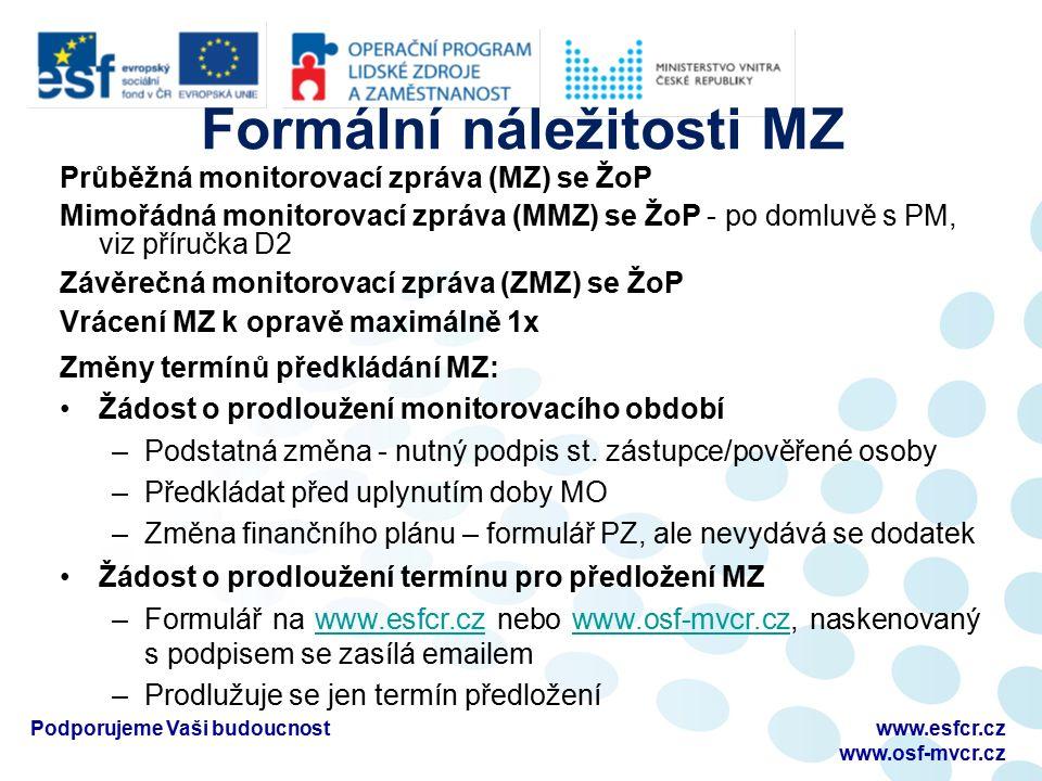 Formální náležitosti MZ Průběžná monitorovací zpráva (MZ) se ŽoP Mimořádná monitorovací zpráva (MMZ) se ŽoP - po domluvě s PM, viz příručka D2 Závěreč