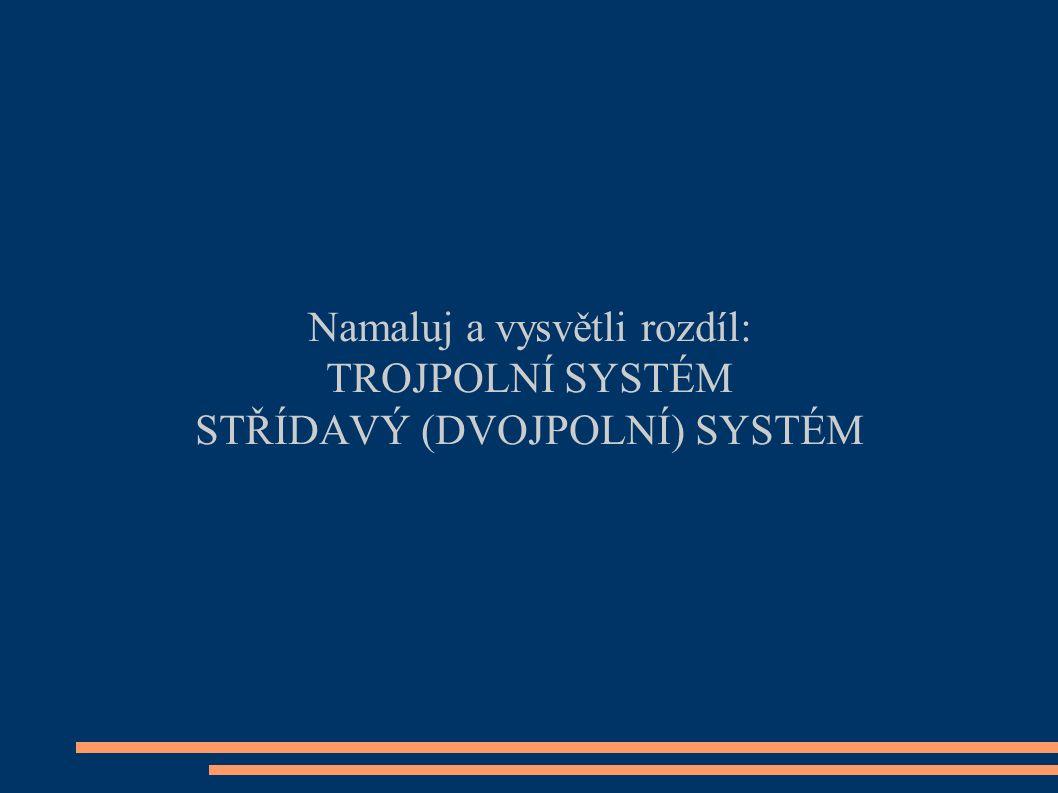 Namaluj a vysvětli rozdíl: TROJPOLNÍ SYSTÉM STŘÍDAVÝ (DVOJPOLNÍ) SYSTÉM