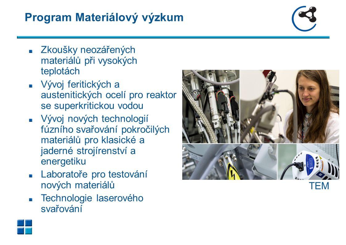 Program Materiálový výzkum 9 Zkoušky neozářených materiálů při vysokých teplotách Vývoj feritických a austenitických ocelí pro reaktor se superkritickou vodou Vývoj nových technologií fúzního svařování pokročilých materiálů pro klasické a jaderné strojírenství a energetiku Laboratoře pro testování nových materiálů Technologie laserového svařování TEM
