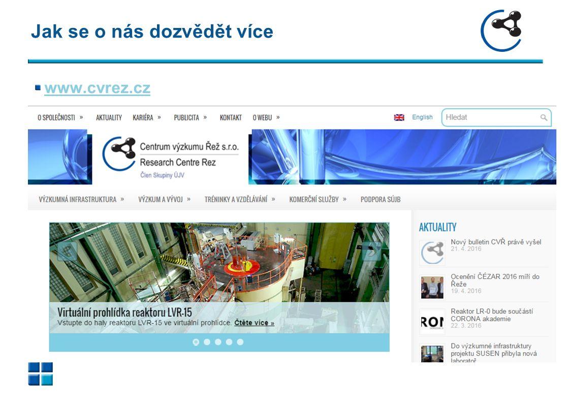 Jak se o nás dozvědět více www.cvrez.cz