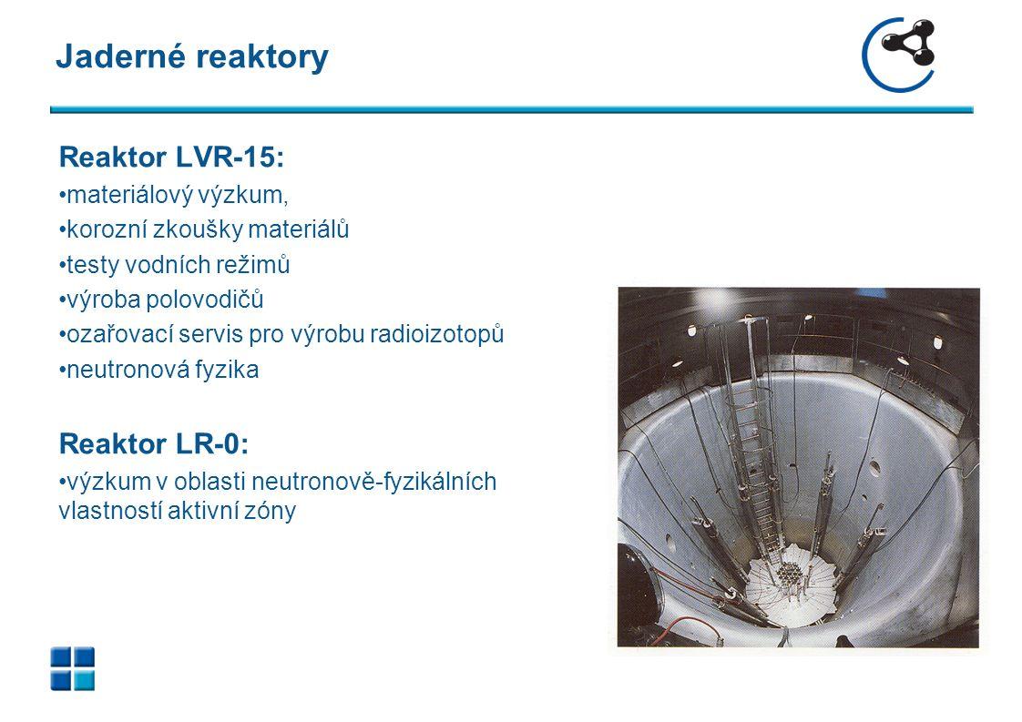 Jaderné reaktory Reaktor LVR-15: materiálový výzkum, korozní zkoušky materiálů testy vodních režimů výroba polovodičů ozařovací servis pro výrobu radioizotopů neutronová fyzika Reaktor LR-0: výzkum v oblasti neutronově-fyzikálních vlastností aktivní zóny