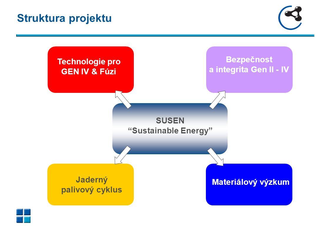 Technologie pro GEN IV & Fúzi Jaderný palivový cyklus Materiálový výzkum Bezpečnost a integrita Gen II - IV SUSEN Sustainable Energy Struktura projektu