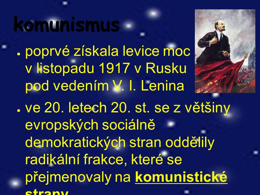 komunismus ● poprvé získala levice moc v listopadu 1917 v Rusku pod vedením V.