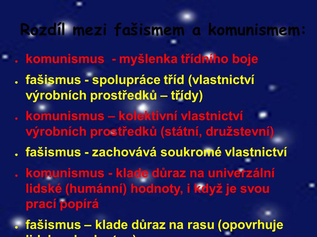 Rozdíl mezi fašismem a komunismem: ● komunismus - myšlenka třídního boje ● fašismus - spolupráce tříd (vlastnictví výrobních prostředků – třídy) ● komunismus – kolektivní vlastnictví výrobních prostředků (státní, družstevní) ● fašismus - zachovává soukromé vlastnictví ● komunismus - klade důraz na univerzální lidské (humánní) hodnoty, i když je svou prací popírá ● fašismus – klade důraz na rasu (opovrhuje lidskou hodnotou)