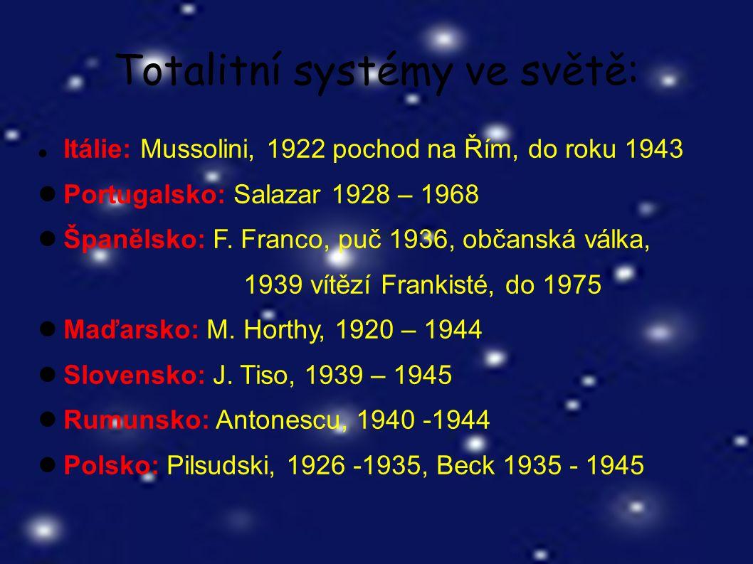 Totalitní systémy ve světě: Itálie: Mussolini, 1922 pochod na Řím, do roku 1943 Portugalsko: Salazar 1928 – 1968 Španělsko: F.