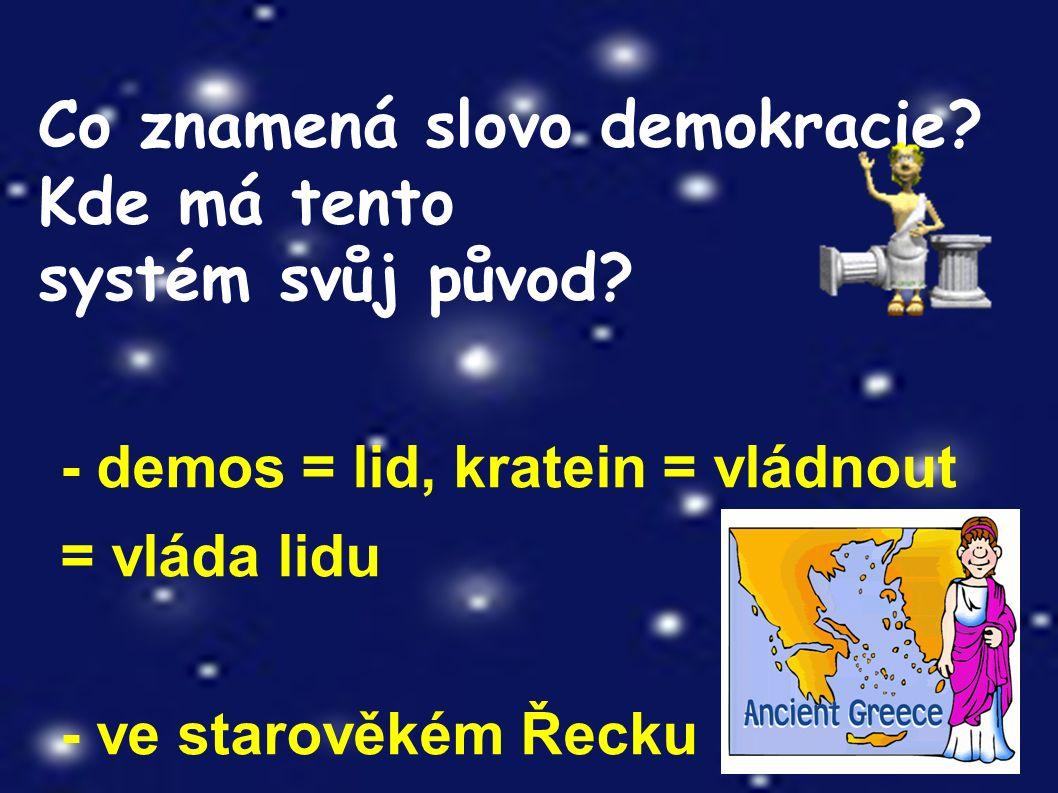Co znamená slovo demokracie. Kde má tento systém svůj původ.