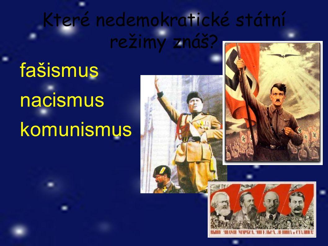 Které nedemokratické státní režimy znáš? fašismus nacismus komunismus