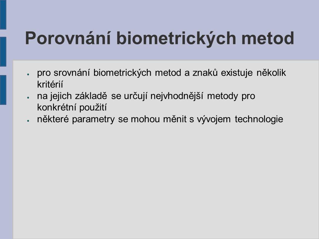 Porovnání biometrických metod ● pro srovnání biometrických metod a znaků existuje několik kritérií ● na jejich základě se určují nejvhodnější metody pro konkrétní použití ● některé parametry se mohou měnit s vývojem technologie