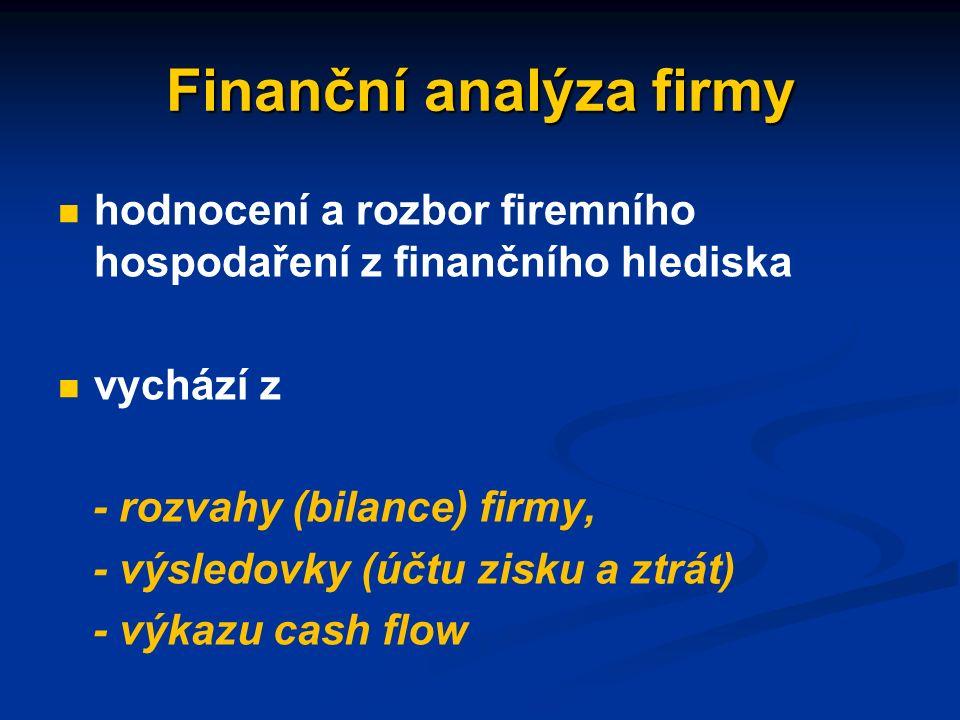Finanční řízení firmy cílem finančního řízení firmy je zabezpečit platební schopnost, potřebnou likviditu a dbát o finanční rentabilitu firmy