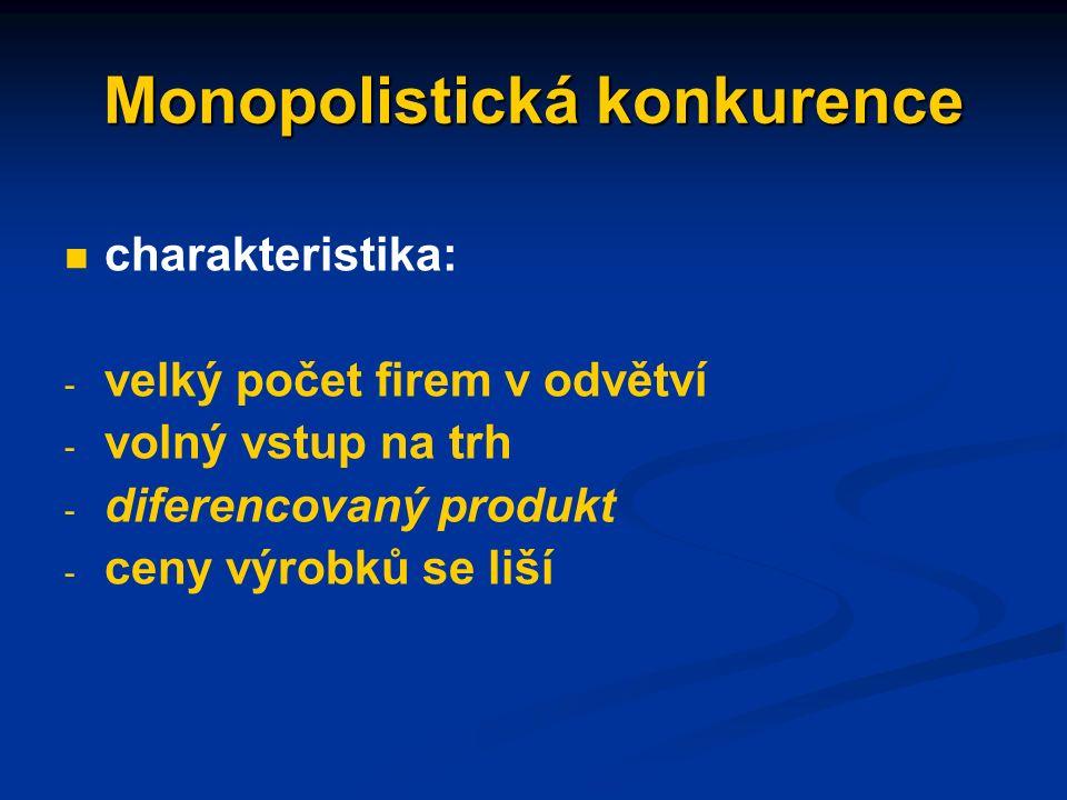 Nedokonalá konkurence situace, kde je narušena jedna či více podmínek konkurence dokonalé formy(na straně nabídky): - monopolistická konkurence - oligopol - monopol