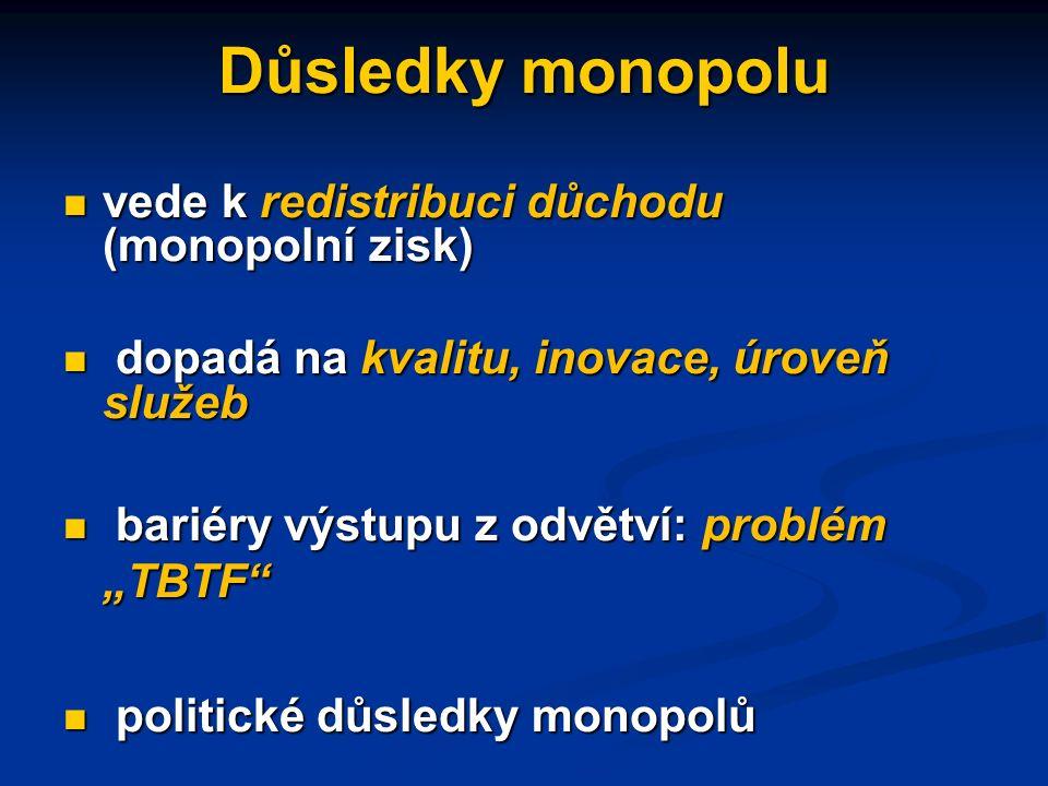 Důsledky monopolu monopol představuje nejzávažnější z forem tržního selhání vytváří výraznou možnost ovlivnit cenu sledování ziskového motivu u monopolního podniku není v národohospodářském zájmu (narušuje národohospodářskou efektivitu)