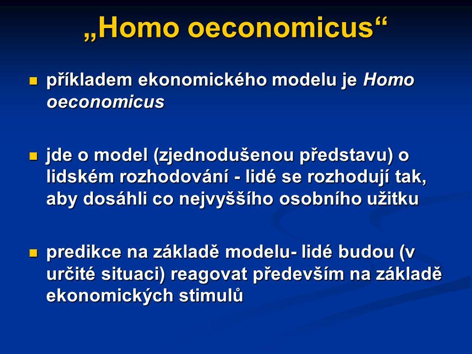 Ekonomické principy a modely ekonomické principy udávají vztahy mezi ekonomickými jevy ekonomické principy udávají vztahy mezi ekonomickými jevy ekonomické modely představují (zjednodušené) vztahy mezi ekonomickými jevy zachycené často v podobě diagramů (grafů) nebo vzorců ekonomické modely představují (zjednodušené) vztahy mezi ekonomickými jevy zachycené často v podobě diagramů (grafů) nebo vzorců častým zdrojem zjednodušení ekonomických modelů je předpoklad ceteris paribus, tj.