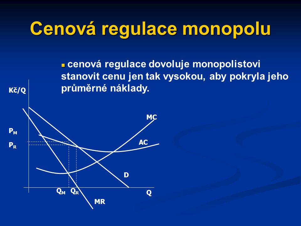 Protimonopolní/konkurenční politika regulace přirozených monopolů (regulace cen) využívání veřejného vlastnictví monopolních podniků