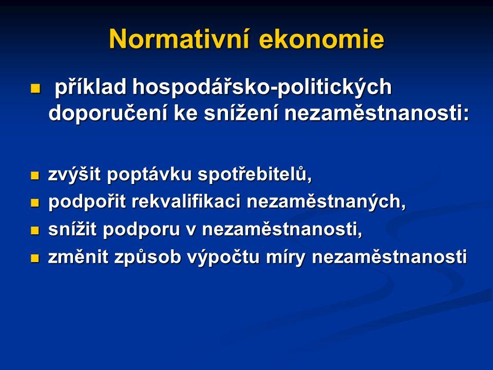 Normativní ekonomie příkladem normativní ekonomie jsou doporučení týkající se řešení nezaměstnanosti příkladem normativní ekonomie jsou doporučení týkající se řešení nezaměstnanosti