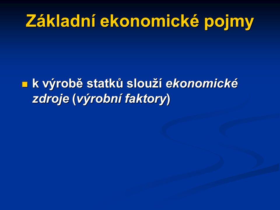 Základní ekonomické pojmy k výrobě statků slouží ekonomické zdroje (výrobní faktory) k výrobě statků slouží ekonomické zdroje (výrobní faktory)