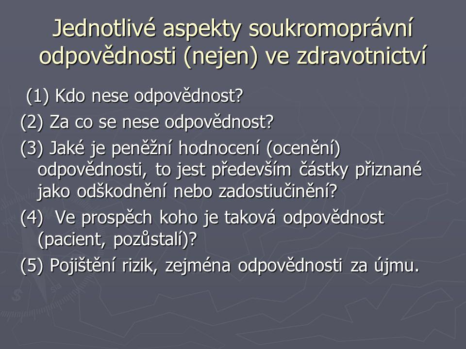 Jednotlivé aspekty soukromoprávní odpovědnosti (nejen) ve zdravotnictví (1) Kdo nese odpovědnost? (1) Kdo nese odpovědnost? (2) Za co se nese odpovědn