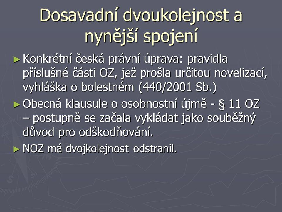 Dosavadní dvoukolejnost a nynější spojení ► Konkrétní česká právní úprava: pravidla příslušné části OZ, jež prošla určitou novelizací, vyhláška o bole