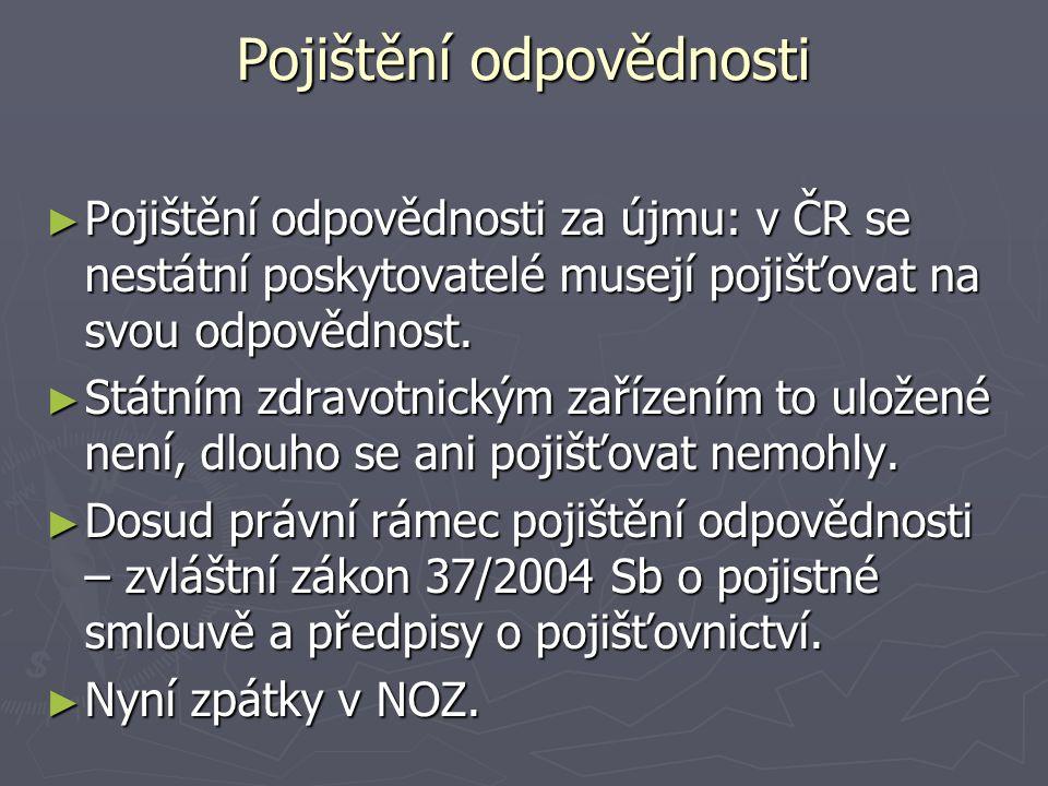 Pojištění odpovědnosti ► Pojištění odpovědnosti za újmu: v ČR se nestátní poskytovatelé musejí pojišťovat na svou odpovědnost.