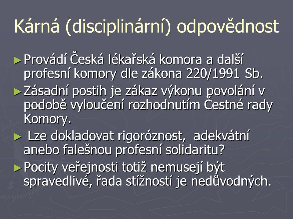Kárná (disciplinární) odpovědnost ► Provádí Česká lékařská komora a další profesní komory dle zákona 220/1991 Sb. ► Zásadní postih je zákaz výkonu pov