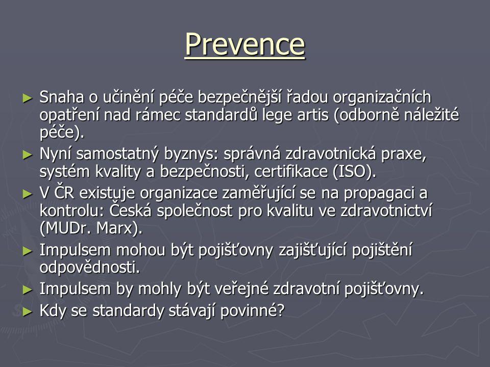 Prevence ► Snaha o učinění péče bezpečnější řadou organizačních opatření nad rámec standardů lege artis (odborně náležité péče). ► Nyní samostatný byz
