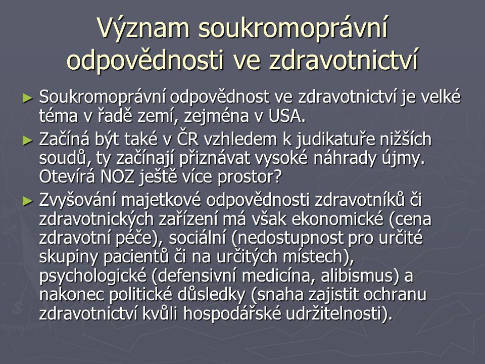Význam soukromoprávní odpovědnosti ve zdravotnictví ► Soukromoprávní odpovědnost ve zdravotnictví je velké téma v řadě zemí, zejména v USA. ► Začíná b
