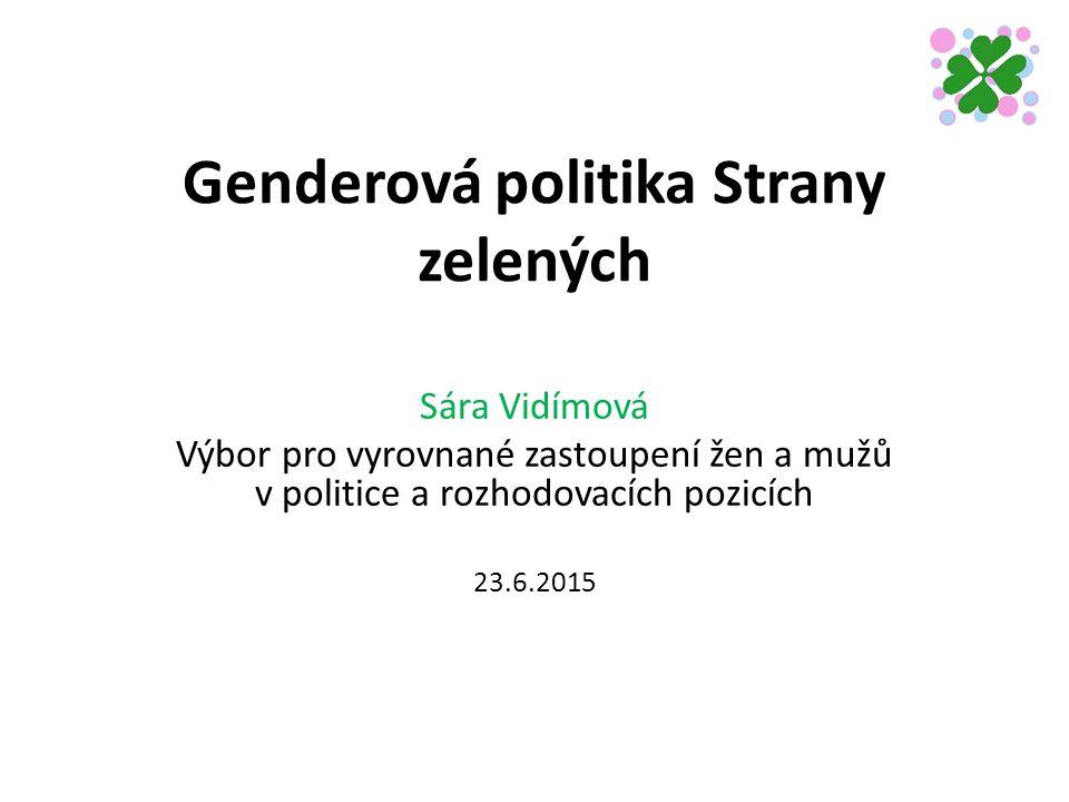 Genderová politika Strany zelených Sára Vidímová Výbor pro vyrovnané zastoupení žen a mužů v politice a rozhodovacích pozicích 23.6.2015
