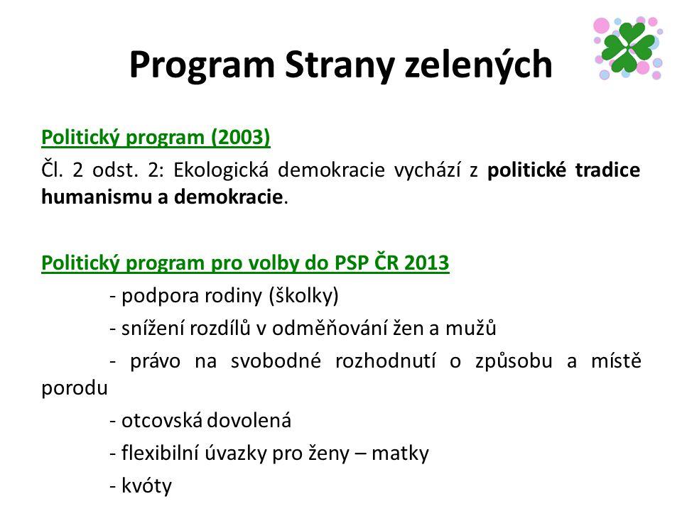 Program Strany zelených Politický program (2003) Čl.