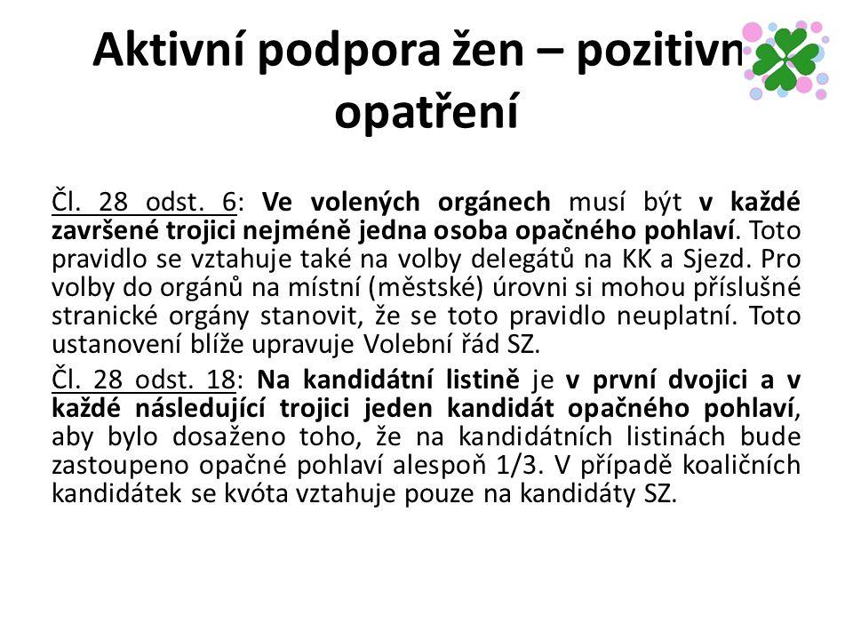 Aktivní podpora žen – pozitivní opatření Čl. 28 odst.