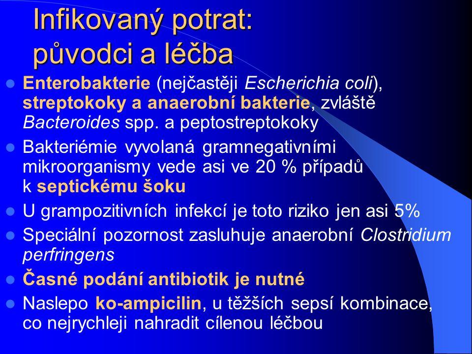 Infikovaný potrat: původci a léčba Enterobakterie (nejčastěji Escherichia coli), streptokoky a anaerobní bakterie, zvláště Bacteroides spp.