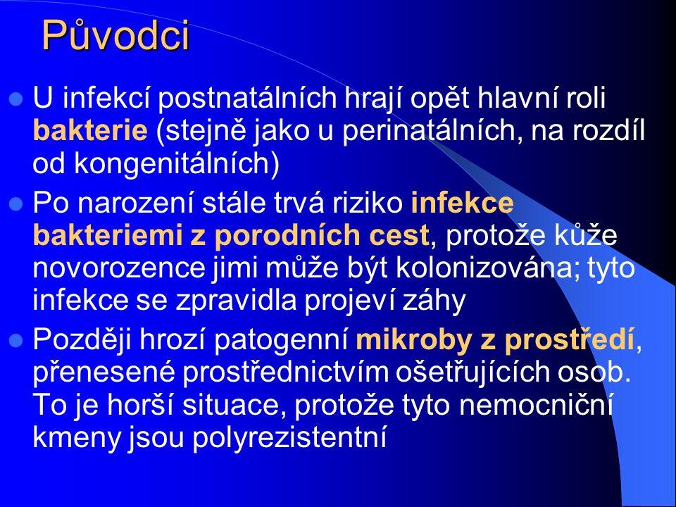 Klinické stavy Konjunktivitida: vůbec nejčastější infekce novorozenců Zánět pupečníku Záněty horních cest dýchacích (10 až 20 %) Soor (moučnivka) v dutině ústní, zejména u nedonošenců Purulentní meningitida představuje sice jen asi 1 %, avšak velice závažná Infekce GIT (enteropatogenní Escherichia coli) Různé další