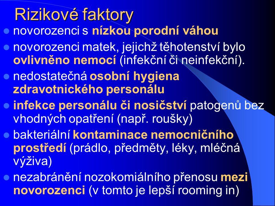 Infekce v ranách Infekce epiziotomie Pacientky se sklony ke špatnému hojení ran či příliš tenkou kůží Mechanické poškození hráze při porodu Původci nozokomiální, ale i zástupci poševní flóry Infekce v jizvě po císařském řezu Opět při špatném hojení ran obecně Způsobují je stafylokoky a různé nozokomiální patogeny