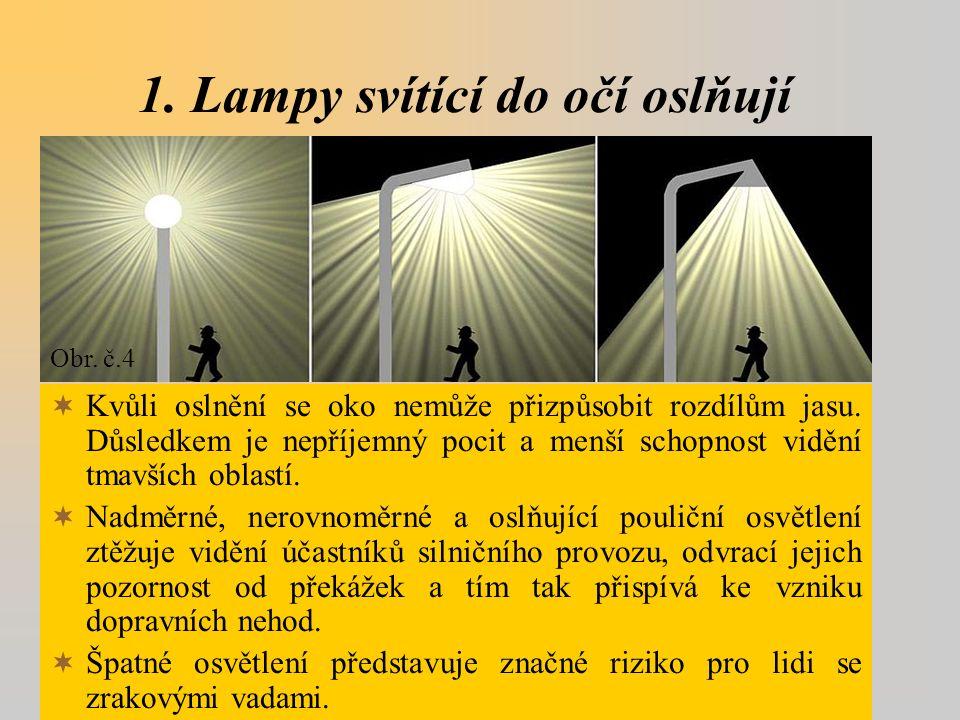1. Lampy svítící do očí oslňují  Kvůli oslnění se oko nemůže přizpůsobit rozdílům jasu.