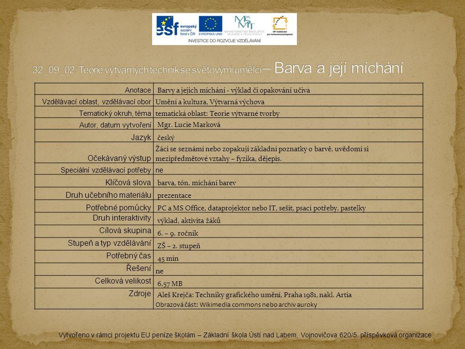 Vytvořeno v rámci projektu EU peníze školám – Základní škola Ústí nad Labem, Vojnovičova 620/5, příspěvková organizace Anotace Barvy a jejich míchání - výklad či opakování učiva Vzdělávací oblast, vzdělávací obor Umění a kultura, Výtvarná výchova Tematický okruh, téma tematická oblast: Teorie výtvarné tvorby Autor, datum vytvoření Mgr.