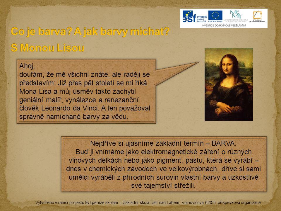 Ahoj, doufám, že mě všichni znáte, ale raději se představím: Již přes pět století se mi říká Mona Lisa a můj úsměv takto zachytil geniální malíř, vynálezce a renezanční člověk Leonardo da Vinci.