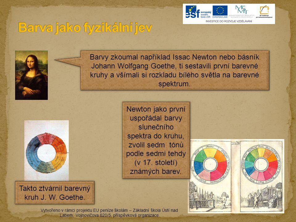 Vytvořeno v rámci projektu EU peníze školám – Základní škola Ústí nad Labem, Vojnovičova 620/5, příspěvková organizace Barvy zkoumal například Issac Newton nebo básník Johann Wolfgang Goethe, ti sestavili první barevné kruhy a všímali si rozkladu bílého světla na barevné spektrum.