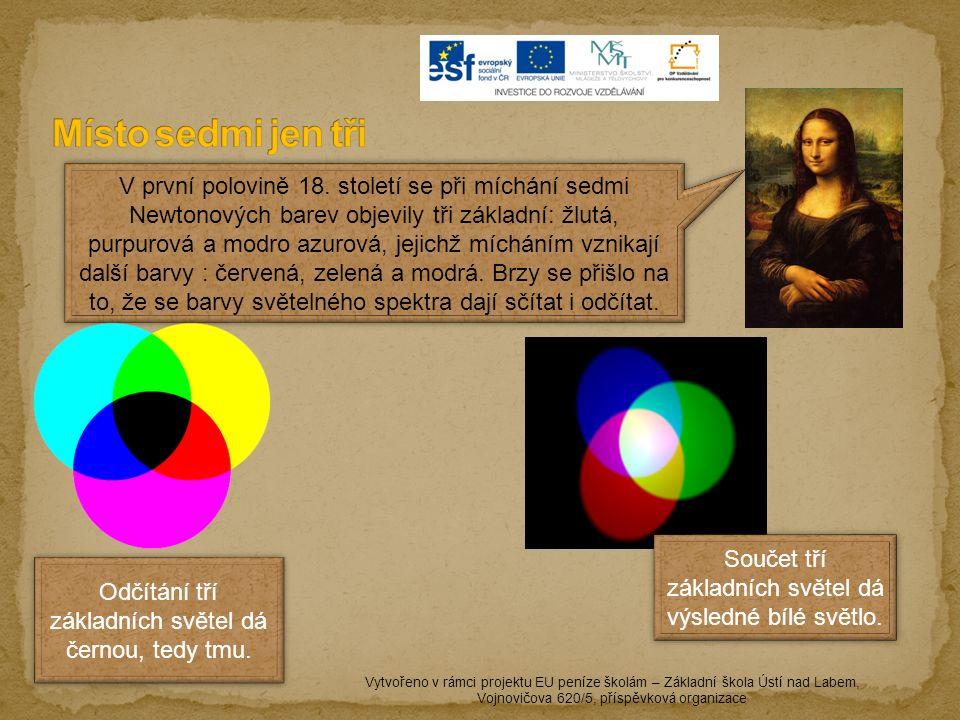 Vytvořeno v rámci projektu EU peníze školám – Základní škola Ústí nad Labem, Vojnovičova 620/5, příspěvková organizace Výtvarný umělec však barvy vnímal od nejstarších dob jinak, a to jako barevné pigmenty, které získával z přírody.