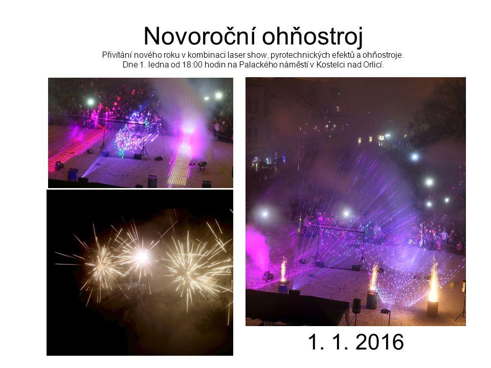 Novoroční ohňostroj Přivítání nového roku v kombinaci laser show, pyrotechnických efektů a ohňostroje.