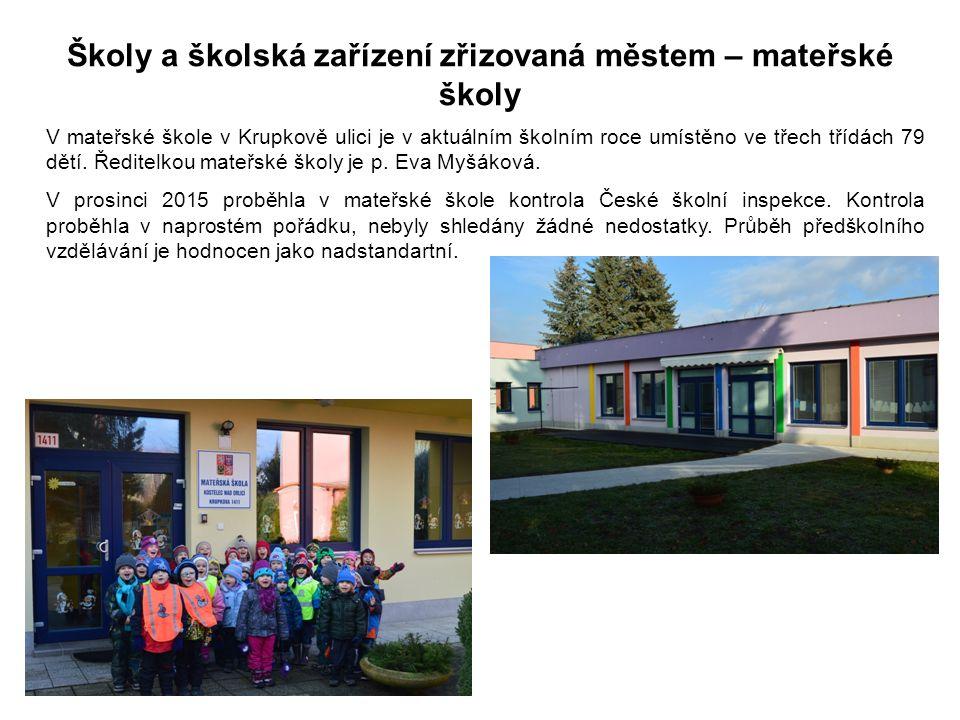 Školy a školská zařízení zřizovaná městem – mateřské školy V mateřské škole v Krupkově ulici je v aktuálním školním roce umístěno ve třech třídách 79 dětí.