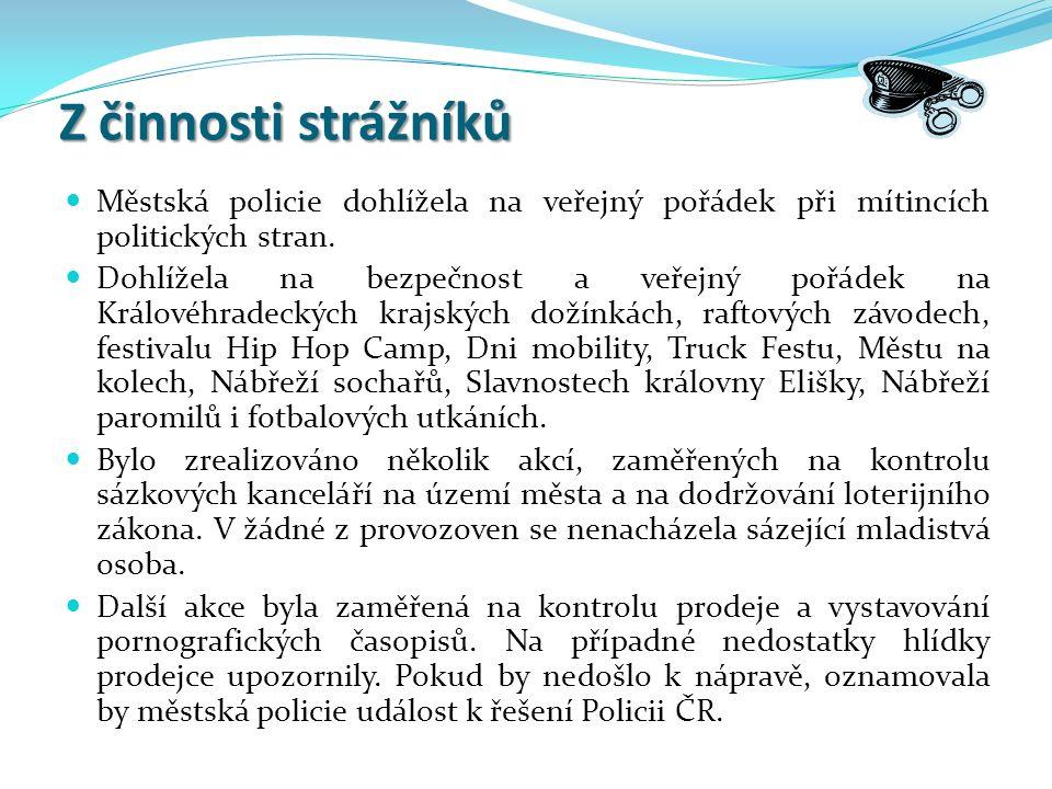 Z činnosti strážníků Z činnosti strážníků Městská policie dohlížela na veřejný pořádek při mítincích politických stran.