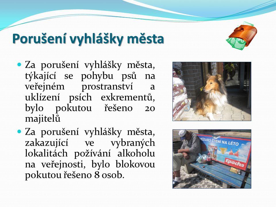 Porušení vyhlášky města Za porušení vyhlášky města, týkající se pohybu psů na veřejném prostranství a uklízení psích exkrementů, bylo pokutou řešeno 20 majitelů Za porušení vyhlášky města, zakazující ve vybraných lokalitách požívání alkoholu na veřejnosti, bylo blokovou pokutou řešeno 8 osob.