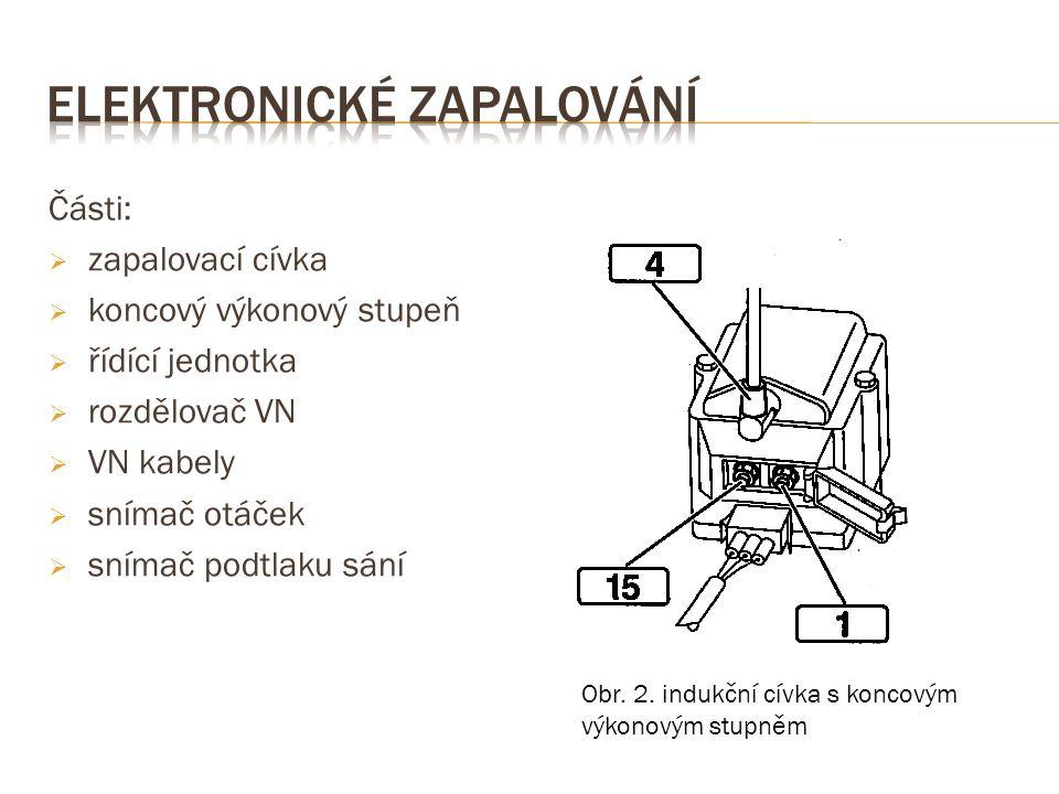 Části:  zapalovací cívka  koncový výkonový stupeň  řídící jednotka  rozdělovač VN  VN kabely  snímač otáček  snímač podtlaku sání Obr.