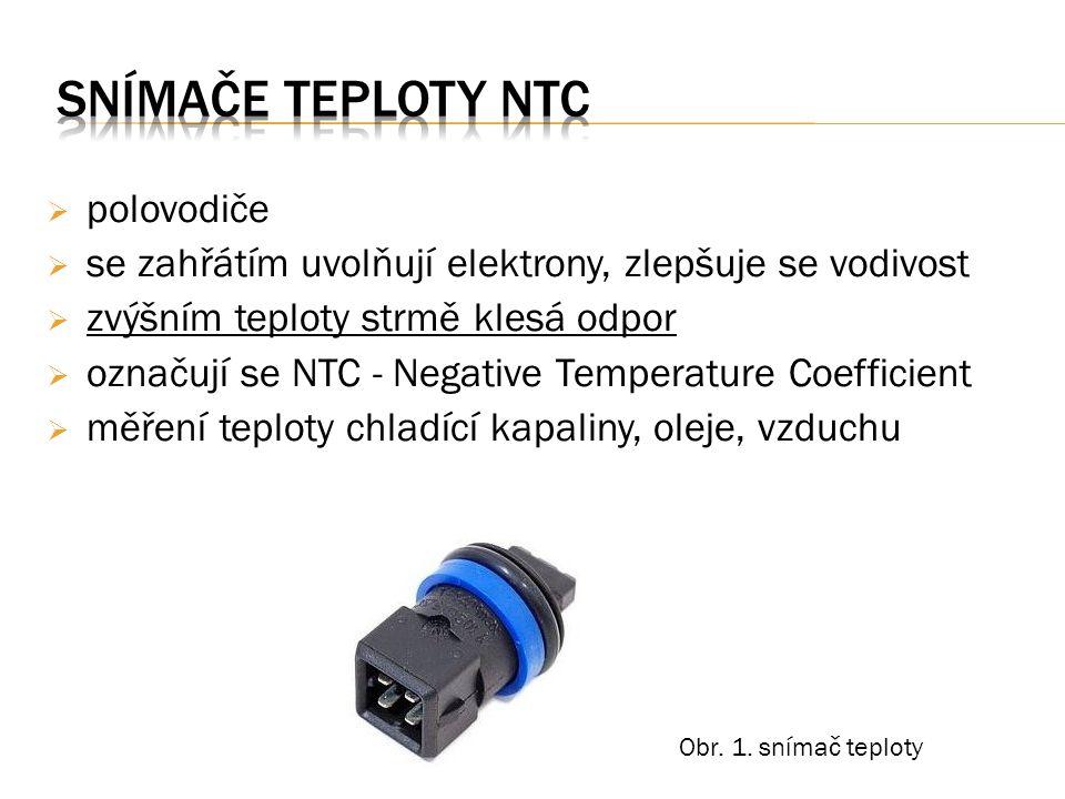  polovodiče  se zahřátím uvolňují elektrony, zlepšuje se vodivost  zvýšním teploty strmě klesá odpor  označují se NTC - Negative Temperature Coeff