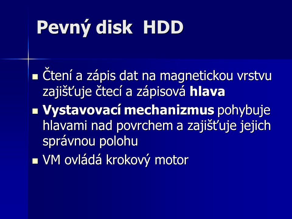 Pevný disk HDD Čtení a zápis dat na magnetickou vrstvu zajišťuje čtecí a zápisová hlava Čtení a zápis dat na magnetickou vrstvu zajišťuje čtecí a zápisová hlava Vystavovací mechanizmus pohybuje hlavami nad povrchem a zajišťuje jejich správnou polohu Vystavovací mechanizmus pohybuje hlavami nad povrchem a zajišťuje jejich správnou polohu VM ovládá krokový motor VM ovládá krokový motor