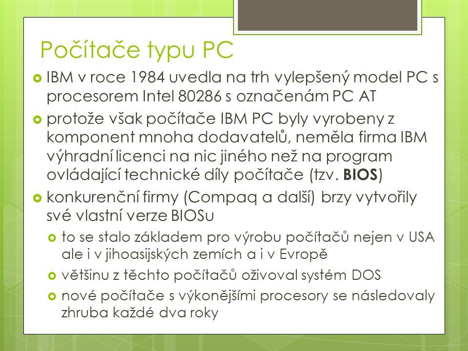 Počítače typu PC  IBM v roce 1984 uvedla na trh vylepšený model PC s procesorem Intel 80286 s označenám PC AT  protože však počítače IBM PC byly vyrobeny z komponent mnoha dodavatelů, neměla firma IBM výhradní licenci na nic jiného než na program ovládající technické díly počítače (tzv.